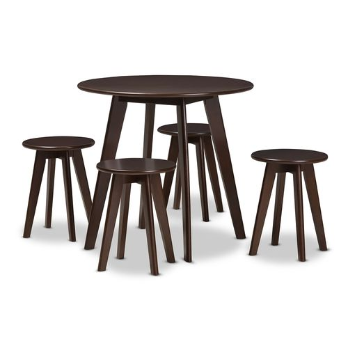 Baxton Studio Zula Mid-Century Modern Walnut Wood 5-Piece Dining Set