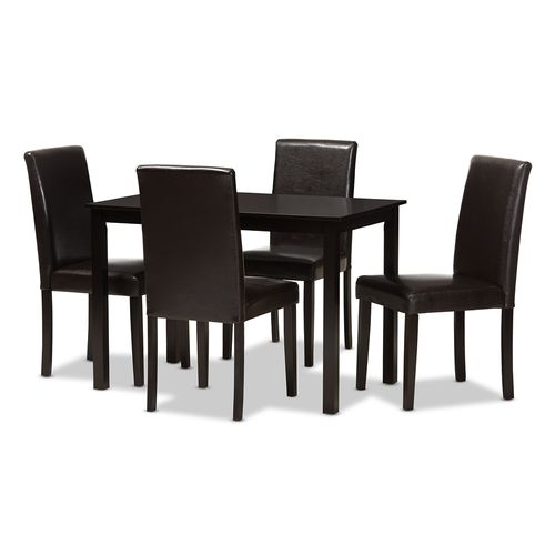 Baxton Studio Mia Modern and Contemporary Dark Brown Faux Leather Upholstered 5-Piece Dining Set
