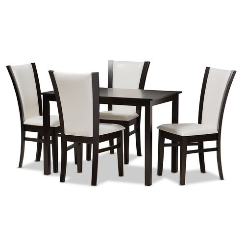 Baxton Studio Adley Modern and Contemporary 5-Piece Dark Brown Finished White Faux Leather Dining Se
