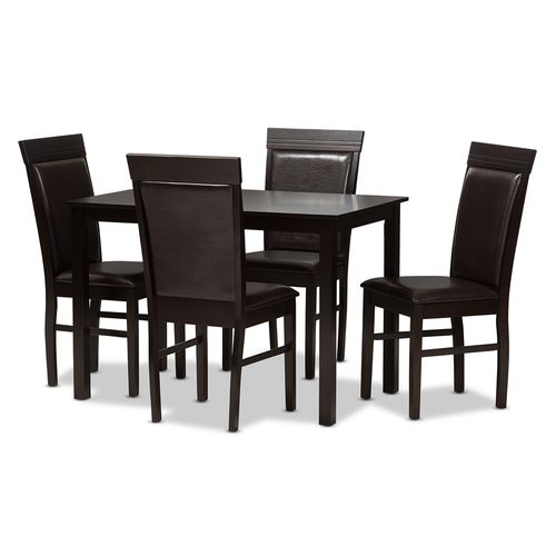 Baxton Studio Thea Modern and Contemporary Dark Brown Faux Leather Upholstered 5-Piece Dining Set
