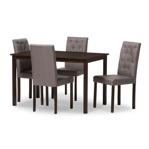 Baxton Studio Gardner Modern and Contemporary 5-Piece Dark Brown Finished Grey Fabric Upholstered Di