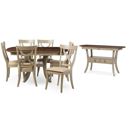Baxton Studio Balmoral Chic Country Cottage Antique Oak Wood and Distressed Light Grey 8-Piece Dinin