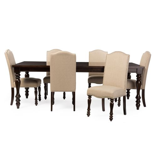 Baxton Studio Zachary Chic French Vintage Oak Brown 7-Piece Dining Set with 72-inch Extendable Top D