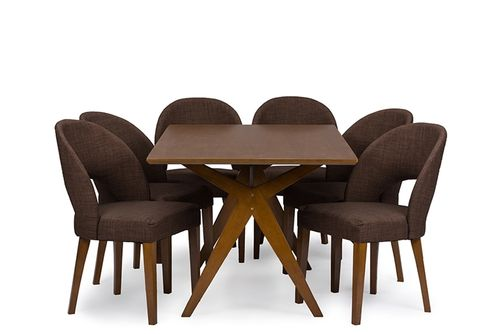 "Baxton Studio Lucas Mid-Century Style ""Walnut"" Brown 7-Piece Dining SetOne (1) Dining Table and Six"