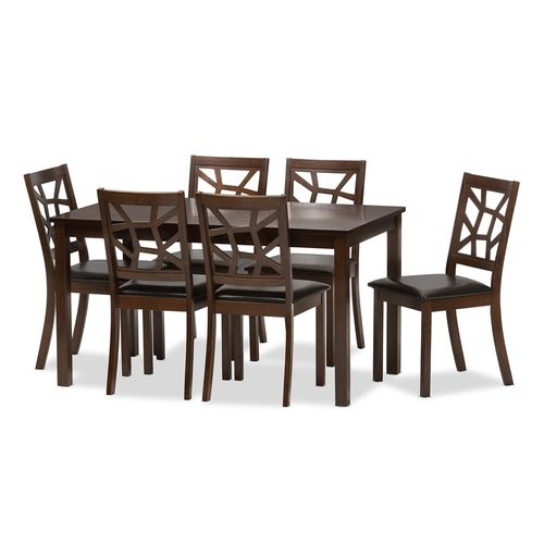 Baxton Studio Mozaika Wood and Leather Contemporary 7-Piece Dining Set1 table and 6 chairs