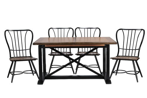 "Baxton Studio Longford ""Dark-Walnut"" Wood and Black Metal Vintage Industrial 7-Piece Dining Set"