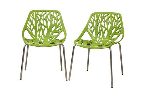Baxton Studio Birch Sapling Green Plastic Modern Dining Chair (Set of 2)