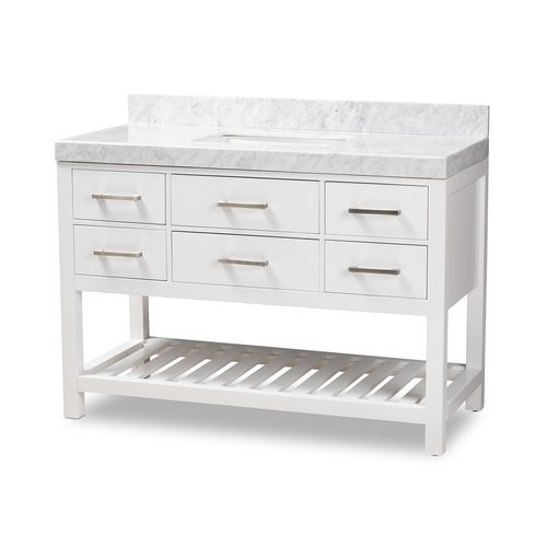 Baxton Studio Yolanda 48-Inch Modern and Contemporary White Finished Wood and Marble Single Sink Bat