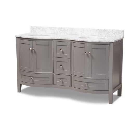 Baxton Studio Nicole 60-Inch Transitional Grey Finished Wood and Marble Double Sink Bathroom Vanity