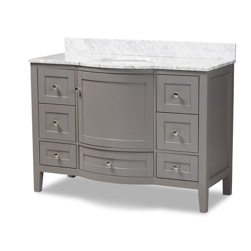 Baxton Studio Nicole 48-Inch Transitional Grey Finished Wood and Marble Single Sink Bathroom Vanity