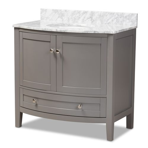 Baxton Studio Nicole 36-Inch Transitional Grey Finished Wood and Marble Single Sink Bathroom Vanity