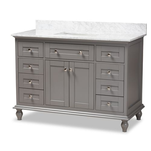 Baxton Studio Caroline 48-Inch Transitional Grey Finished Wood and Marble Single Sink Bathroom Vanit