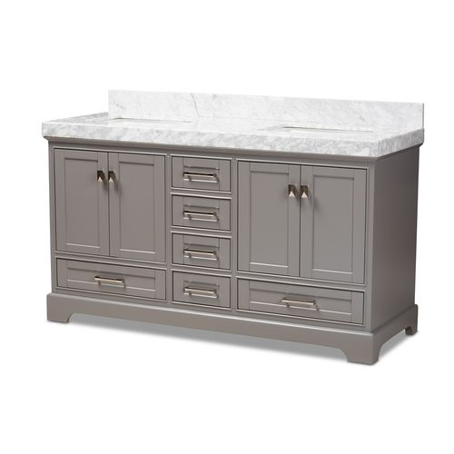 Baxton Studio Amaris 60-Inch Transitional Grey Finished Wood and Marble Double Sink Bathroom Vanity