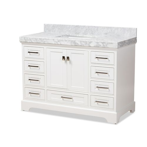 Baxton Studio Amaris 48-Inch Transitional White Finished Wood and Marble Single Sink Bathroom Vanity