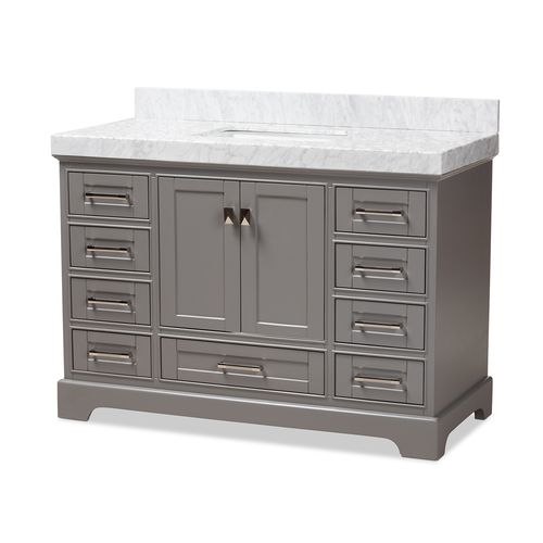 Baxton Studio Amaris 48-Inch Transitional Grey Finished Wood and Marble Single Sink Bathroom Vanity