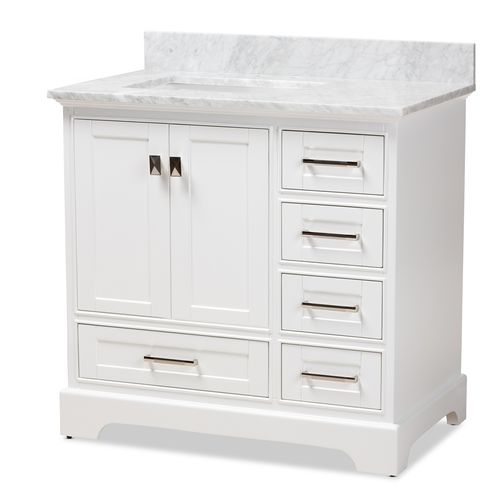 Baxton Studio Amaris 36-Inch Transitional White Finished Wood and Marble Single Sink Bathroom Vanity