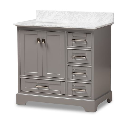 Baxton Studio Amaris 36-Inch Transitional Grey Finished Wood and Marble Single Sink Bathroom Vanity