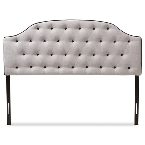 Baxton Studio Windsor Modern and Contemporary Greyish Beige Fabric Upholstered Scalloped Buttoned Fu