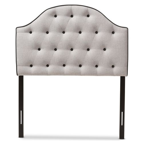 Baxton Studio Windsor Modern and Contemporary Greyish Beige Fabric Upholstered Scalloped Buttoned Tw