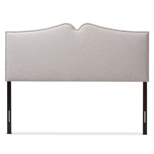 Baxton Studio Gracie Modern and Contemporary Greyish Beige Fabric Upholstered Full Size Headboard wi