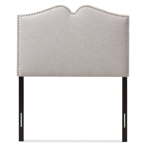 Baxton Studio Gracie Modern and Contemporary Greyish Beige Fabric Upholstered Twin Size Headboard wi