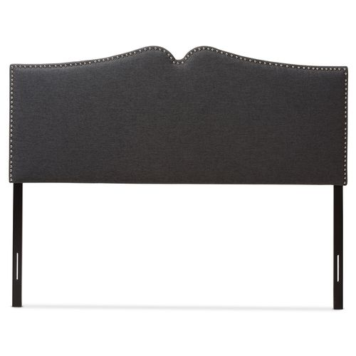 Baxton Studio Gracie Modern and Contemporary Dark Grey Fabric Upholstered King Size Headboard with N