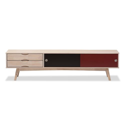 Baxton Studio Foxhill Mid-Century Modern Scandinavian Inspired Multi-colored Solid Rubberwood TV Sta