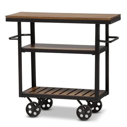 Baxton Studio Kennedy Rustic Industrial Style Antique Black Textured Finished Metal Distressed Wood