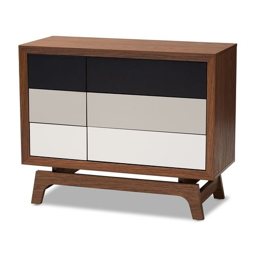 Baxton Studio Svante Mid-Century Modern Multicolor Finished Wood 6-Drawer Chest