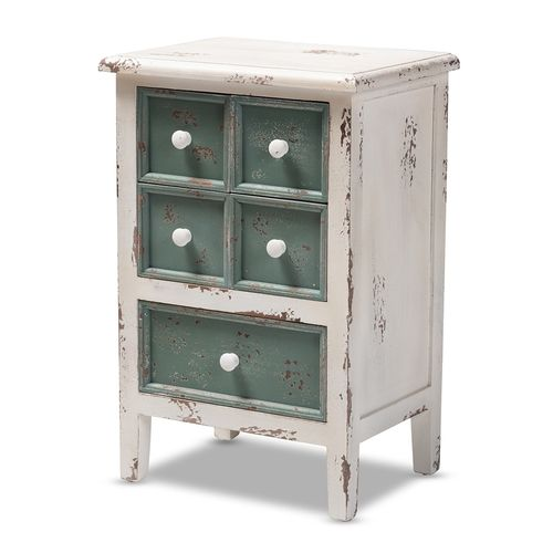 Baxton Studio Angeline Antique French Country Cottage Distressed White and Teal Finished Wood 5-Draw