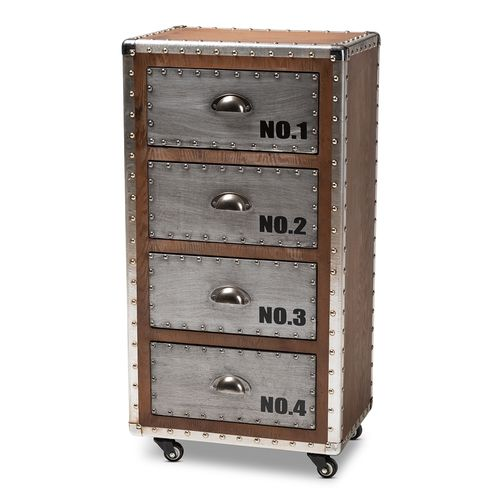 Baxton Studio Avere French Industrial Brown Wood and Silver Metal 4-Drawer Rolling Accent Chest