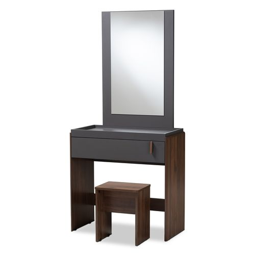 Baxton Studio Rikke Modern and Contemporary Two-Tone Gray and Walnut Finished Wood Bedroom Vanity wi