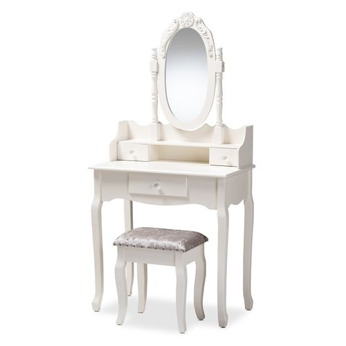 Baxton Studio Veronique Traditional French Provincial White Finished Wood 2-Piece Vanity Table with