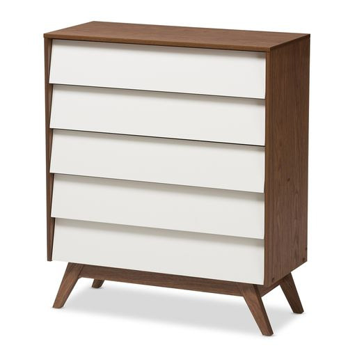 Baxton Studio Hildon Mid-Century Modern White and Walnut Wood 5-Drawer Storage Chest