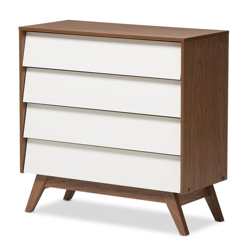 Baxton Studio Hildon Mid-Century Modern White and Walnut Wood 4-Drawer Storage Chest