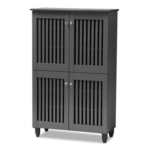 Baxton Studio Fernanda Modern and Contemporary Dark Gray 4-Door Wooden Entryway Shoe Storage Cabinet