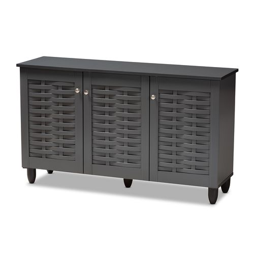 Baxton Studio Winda Modern and Contemporary Dark Gray 3-Door Wooden Entryway Shoe Storage Cabinet