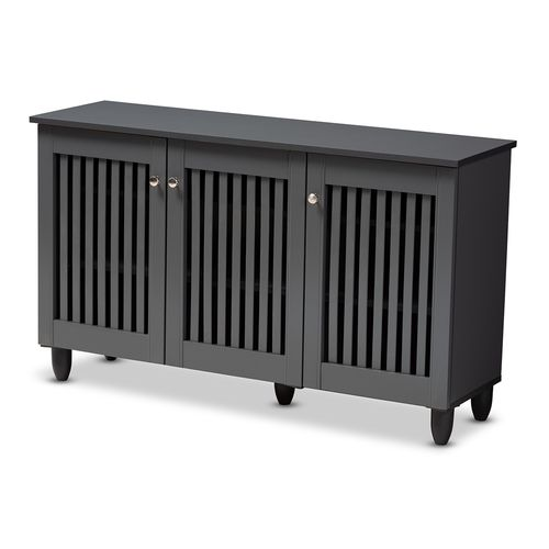 Baxton Studio Fernanda Modern and Contemporary Dark Gray 3-Door Wooden Entryway Shoe Storage Wide Ca