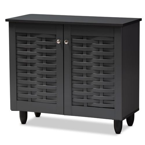 Baxton Studio Winda Modern and Contemporary Dark Gray 2-Door Wooden Entryway Shoe Storage Cabinet
