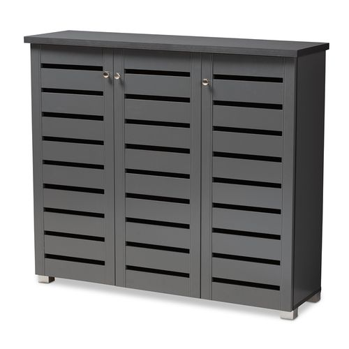 Baxton Studio Adalwin Modern and Contemporary Dark Gray 3-Door Wooden Entryway Shoe Storage Cabinet