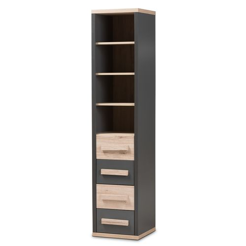 Baxton Studio Pandora Modern and Contemporary Dark Grey and Light Brown Two-Tone 4-Drawer Storage Ca