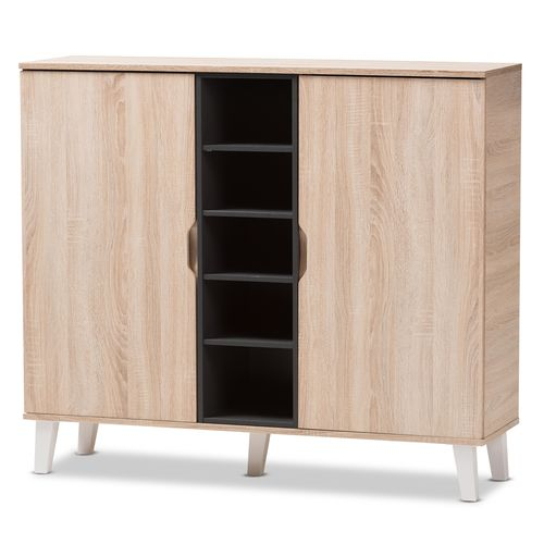 Baxton Studio Adelina Mid-Century Modern 2-door Oak and Grey Wood Shoe Cabinet