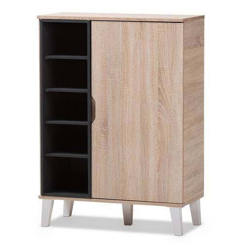 Baxton Studio Adelina Mid-Century Modern 1-door Oak and Grey Wood Shoe Cabinet