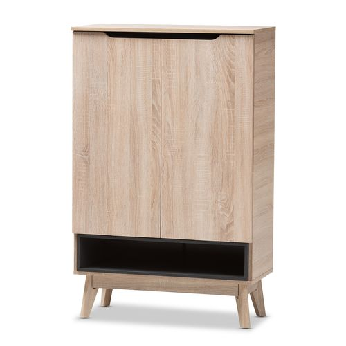 Baxton Studio Fella Mid-Century Modern Two-Tone Oak and Grey Wood Shoe Cabinet