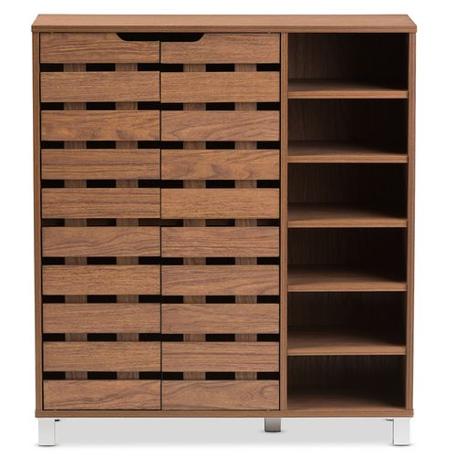 "Baxton Studio Shirley Modern and Contemporary ""Walnut"" Medium Brown Wood 2-Door Shoe Cabinet with Op"