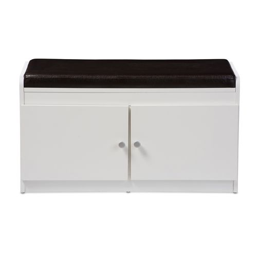 Baxton Studio Margaret Modern and Contemporary White Wood 2-Door Shoe Cabinet with Faux Leather Seat