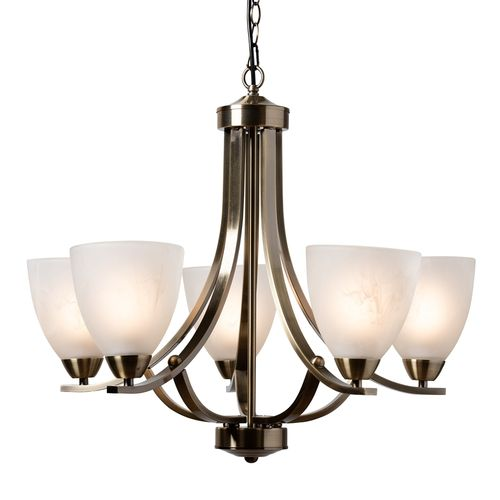 Baxton Studio Ciaran Modern and Contemporary Antique Brass Metal and Frosted Glass 5-Light Chandelie