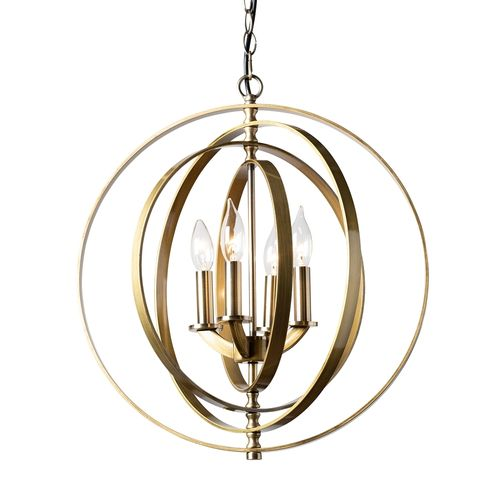 Baxton Studio Roisin Modern and Contemporary Antique Brass Metal 4-Light Orb Chandelier