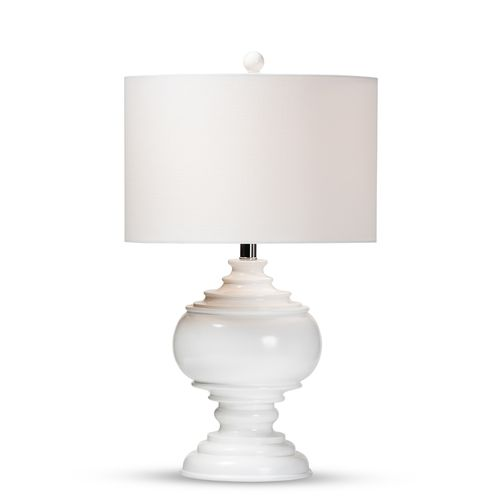 Baxton Studio Safira Modern and Contemporary White Sculpted Table Lamp
