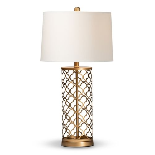 Baxton Studio Nelma Modern and Contemporary Gold Finished Metal Quatrefoil Cage Table Lamp